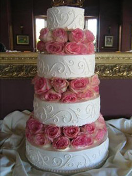 Fresh Pink Roses Wedding Cake