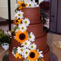 Chocolate Wedding Cake with Sunflowers