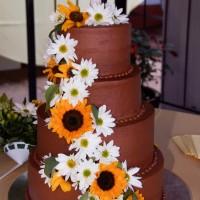 Chocolate Wedding Cake with Sunflowers