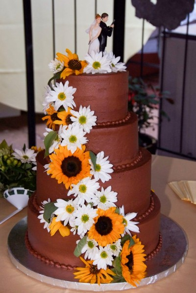 Chocolate Wedding Cake With Sunflowers Mjb Cakes