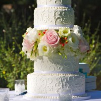 Four Tier with Scrolls & Fresh Flowers