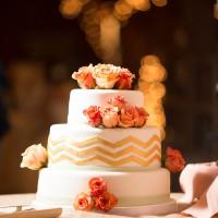 Gold Chevron Wedding Cake