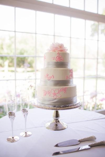 Silver & Pink Wedding Cake