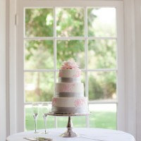 Silver & Pink Wedding Cake Photo 3