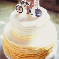 Yellow Ombre Ruffle Wedding Cake