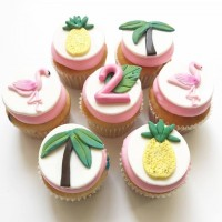 Pink Tropical Cupcakes