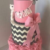 Pink & Gray Baby Shower Cake